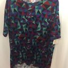 Lularoe Geometric Print Irma Top Size XS NEW NWT Black Red Purple Teal