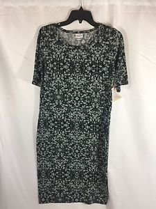 Lularoe Julia Dress Gray Black Blue Size Large L