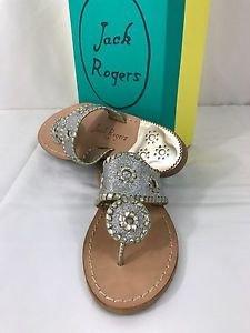 Jack Rogers Sparkle Silver Platinum Sandals Shoes NEW