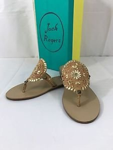 Jack Rogers Georgica Leather Sandals Tan Brown Cork and Goldfleck NEW Gold