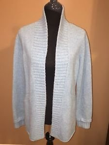 EILEEN FISHER FELTED Cashmere LAMBS WOOL SHAPED Cardigan SWEATER Ice SMALL S