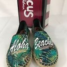 Sam Edelman Circus Leni Aloha Shoes Espadrille Black Flats Slip-On NEW Shoes
