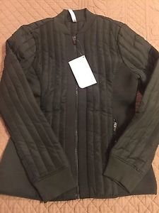 Fabletics Pisa Puffer Jacket NWT Small / 6 NEW Army Green Fleece Quilted Coat