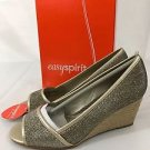 Easy Spirit Brigette Gold Metallic Anti Gravity Shoes Peep Toe Sandals NEW