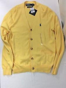 Polo Ralph Lauren Mens Yellow Blue Pima Cotton Pony Logo Cardigan Sweater Small