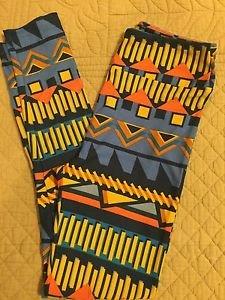 Lularoe LEGGINGS One Size OS NEW Tribal Print Black Blue Orange Yellow