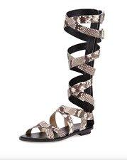 MICHAEL Michael Kors Darby Tall Gladiator Sandals Leather Snakeskin Black White