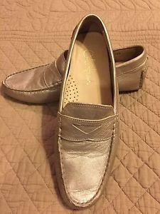 Cole Haan size 8 B soft gold kidd leather driving loafers shoes Nike Comfort