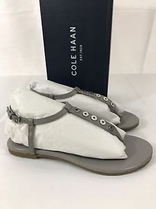 Cole Haan Effie Open Toe Leather Gray Thong Ironstone Sandals MSRP $179