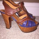 CHIE MIHARA Strappy Heels PLATFORMS - BROWN BLUE Size 36  Made in SPAIN