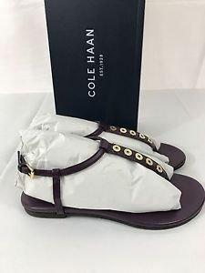 Cole Haan Effie Open Toe Leather Purple Thong Elderberry Sandals MSRP $179
