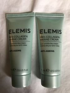 2 X ELEMIS Pro-Collagen Marine Cream Anti-Wrinkle& Ageing Day Cream 15ml/.5oz ea