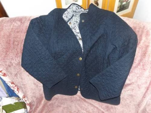 Ladies Size Large Navy Quilted Button Down Jacket with Paisley Lined Fabric