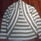 Ladies Size XL Discreet Tan White Striped Lightweight Sweater SHRUG