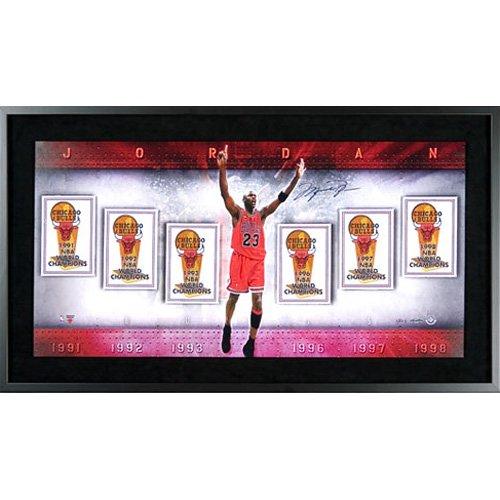 Michael Jordan Autographed Championship Banners Collage Photo