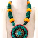 Ethnic Tibetan Turquoise Bone Beads Statement Necklace