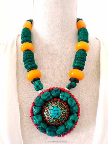 Ethnic Tibetan Turquoise Bone Beads Statement Necklace