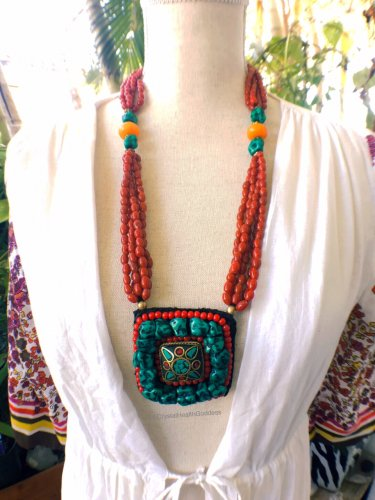 Turquoise Red Coral Long Tibetan Necklace
