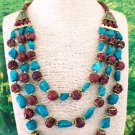 Nepalese Red Coral Turquoise Tribal Necklace
