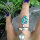 Tibetan Turquoise and Pearl Ring in 925 Sterling