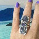 Tanzanite triple Ring. Genuine crystal. 925 Silver Beautiful Design *Stunning* size 6.5