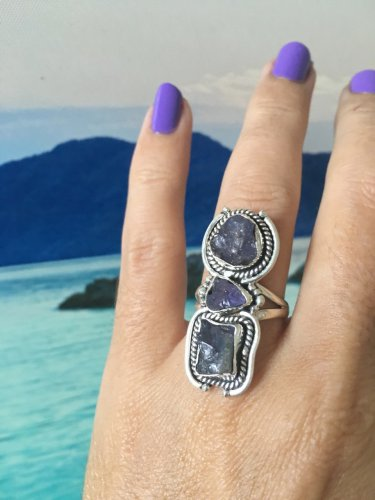 Tanzanite triple Ring. Genuine crystal. 925 Silver Beautiful Design *Stunning* size 6.5