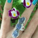 Tanzanite triple Ring. Genuine crystal. 925 Silver Beautiful Design *Stunning* size 8.5