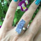 Rough Tanzanite crystal Ring. size 5.5 Set in 925 Silver Beautiful Design