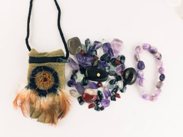 Protection Crystal Healing Pouch Small + Amethyst Bracelet