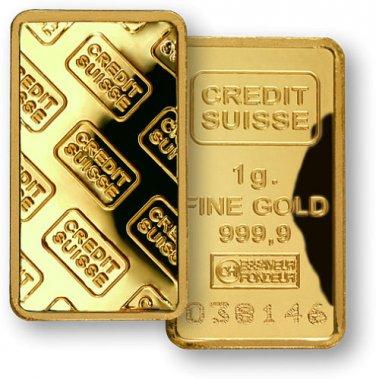 1 Gram 999.9 Fine Gold over Silver  Credit Suisse Bullion Bar