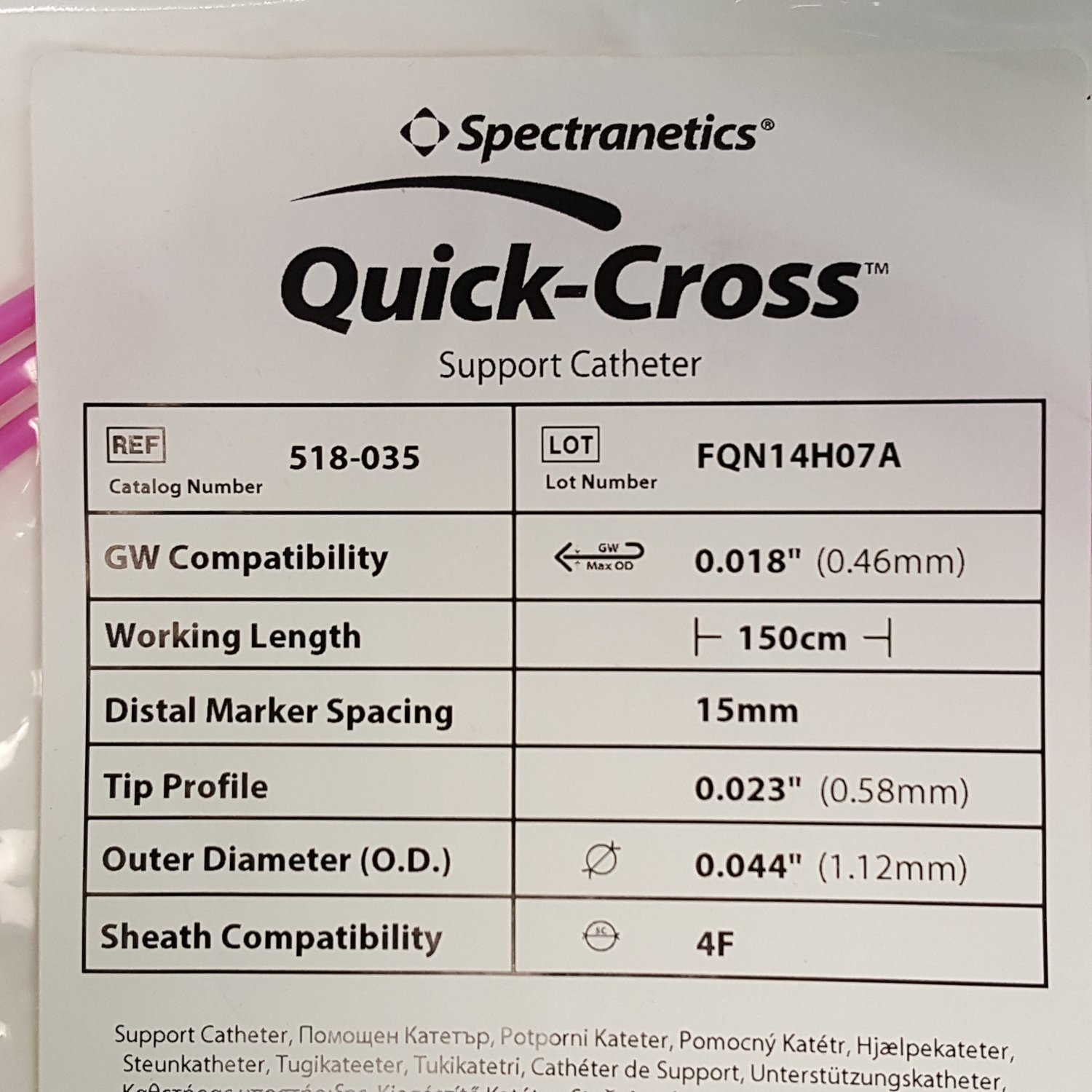 "Spectranetics Quick-Cross 518-035 Support Catheter 4F 0.018"" x 150cm"