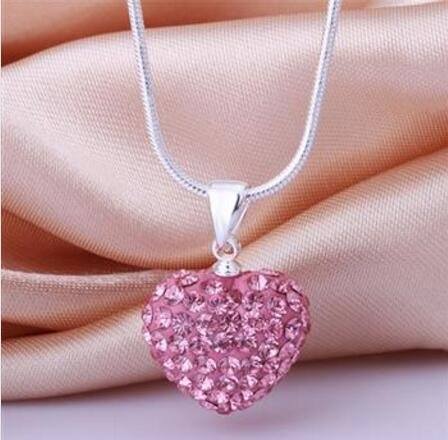 Heart - shaped necklace classic pink heart - shaped Czech drilling necklace N023