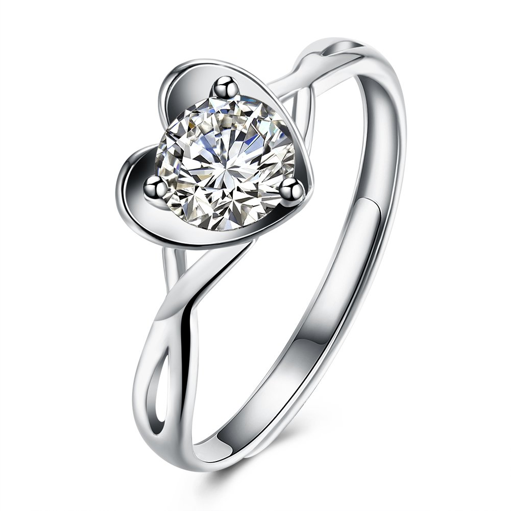 Sterling silver ring fashion ring ring romantic heart ring/White / Platinum / Adjustable