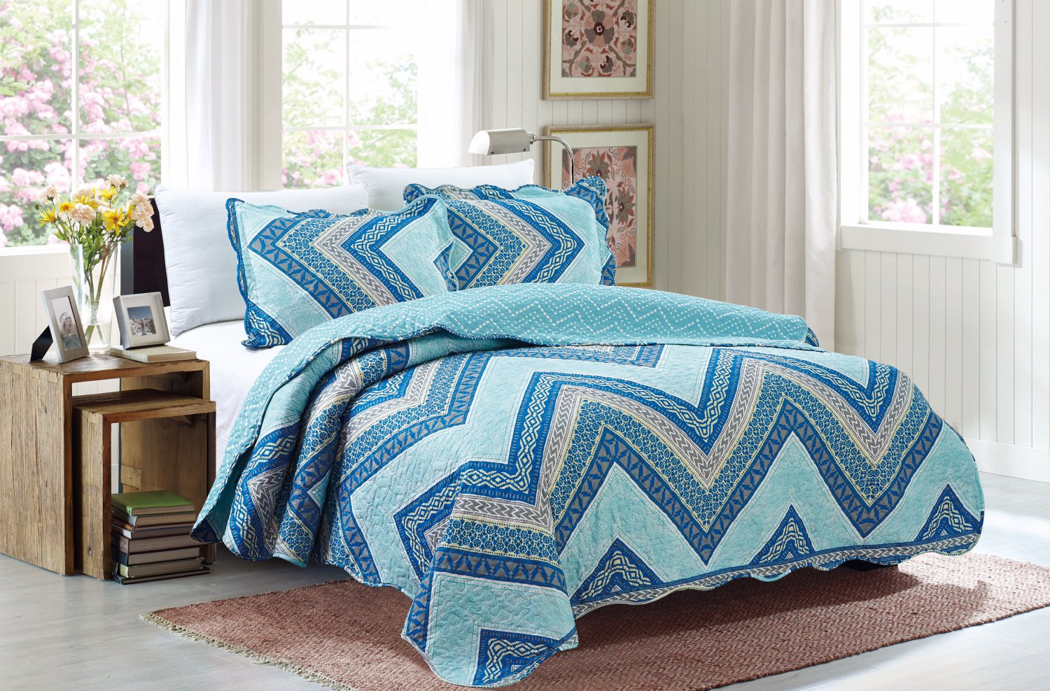 3 Piece Quilt Set Emma-Blue (QueenSize)