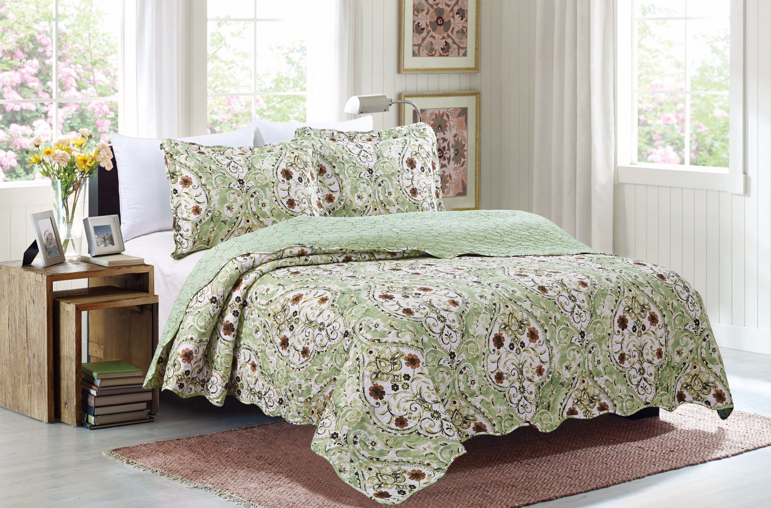 3 Piece Quilt Set Emma-Sage (QueenSize)
