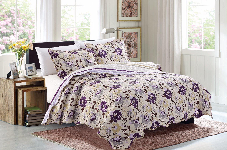 3 Piece Quilt Set Emma-Purple (QueenSize)