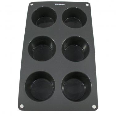 6 x 2.5 oz-Cavity Steadys BC-0602 Premium Silicone Round Muffin Soap Pan/Mold