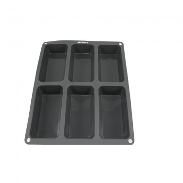 6 x 6 oz-Cavity Steadys BC-0611 Premium Silicone Rectangle Muffin Soap Pan/Mold