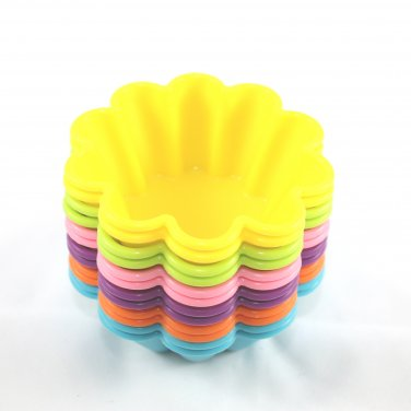 12-Pack Steadys BM-0121L Reusable Non-Stick Flower Premium Silicone Baking Cups