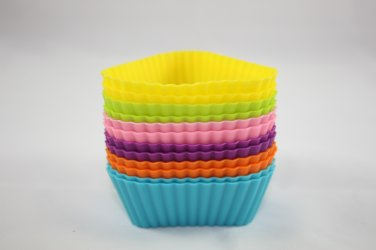 12-Pack Steadys BM-0128 Reusable Non-Stick Triangle Premium Silicone Baking Cups