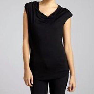 KENNETH COLE Women's Draped Shirt~Short Sleeve Top~Size-M~Black~NWT