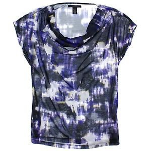 KENNETH COLE Women's Draped Shirt~Short Sleeve Top~Size-M~Black w/Purple~NWT