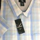 CALVIN KLEIN Men's Short Sleeve Button SHIRT~White/Blue Plaid~Size-M~NWT~ret-$47