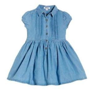 DKNY® Girls' Short Sleeve Denim Cotton Dress~Blue~Sz-3t~NEW