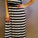 FEVER Women's Maxi Sleeveless Belted Dress~Silver Black Striped~Sz-M~NWT