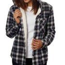 Boston Traders Women's Hooded Fleece Plaid Shirt Jacket~Blk/White~Sz-S,M~NWT