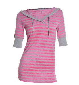 Calvin Klein Women's Henley Long Waisted 3/4 Sleeve Hoodie Top~Petal~Sz-S~NWT