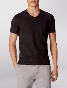 Calvin Klein Men's Textured V-Neck Short Sleeve T-shirt~Black~Sz-L~ret-$45~NWT