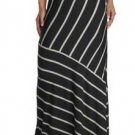 Matty M Women's Long Striped Maxi Stretch Skirt~White & Black~Sz-S, M & L~NWT