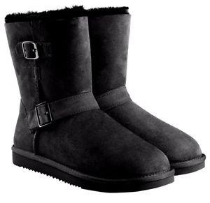 KIRKLAND Women's Australian Skeepskin Shearling Buckle Boots~Black~Sz-7~NWT